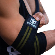 black-army-green elbow compression wraps
