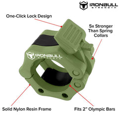 army-green nylon barbell collar features