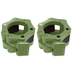 army-green nylon barbell collars pair