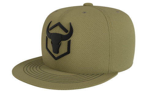 army-green acrylic snapback iron bull strength