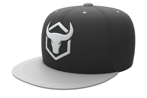 black-light-gray acrylic snapback iron bull strength