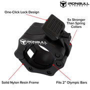 black nylon barbell collar features