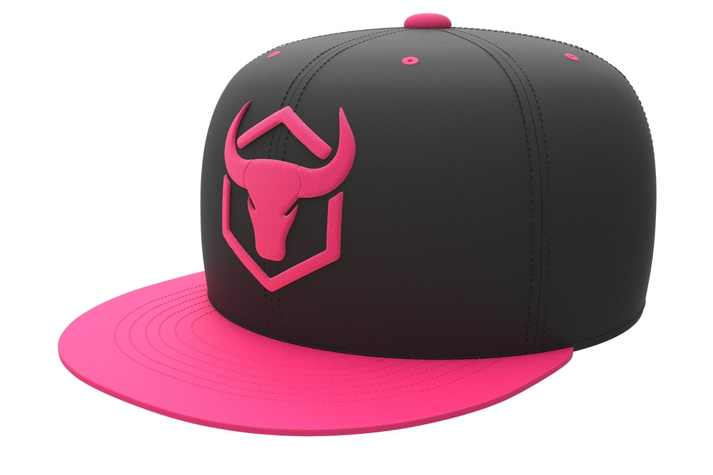 black-pink acrylic snapback iron bull strength