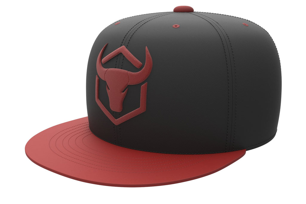 black-red acrylic snapback iron bull strength