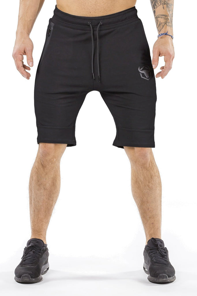 black classic zip shorts from iron bull strength