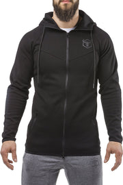 black all seasons good looking zip up hoodie muscle fit