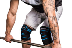 black-cyan knee wraps protects during deadlift
