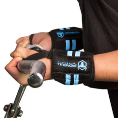 black-sky-blue women wrist wraps biceps curl