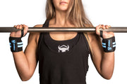 black-sky-blue women wrist wraps for shoulder press protection