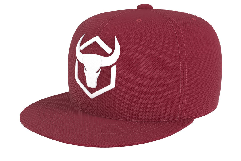 burgundy acrylic snapback iron bull strength