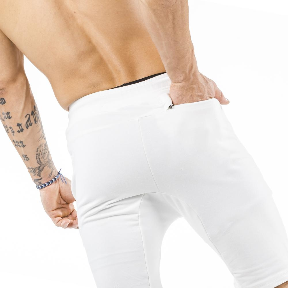 cream iron bull strength zipper gym shorts