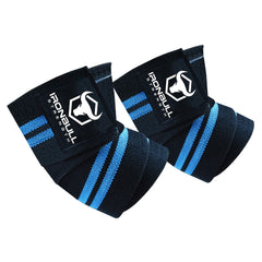black-cyan iron bull strength elbow wraps for bench press