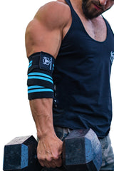 black-cyan green iron bull strength elbow wraps for free weights