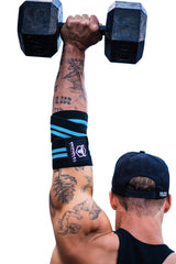 black-cyan green elbow wraps for shoulder press