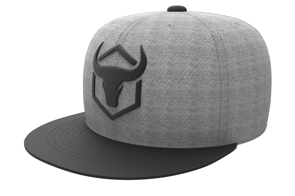 gray-black acrylic snapback iron bull strength