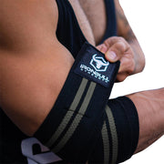 black-gray elbow compression wraps