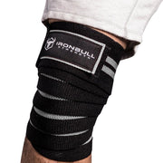 black-gray iron bull strength knee support wraps