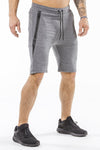 gray sports shorts with pocket zip