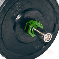 green iron bull strength clipped barbell collars