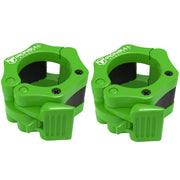 green nylon barbell collars pair