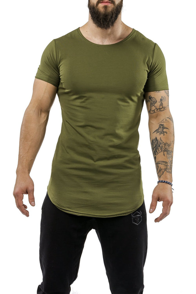 army-green workout t-shirt scoop neck casual wear