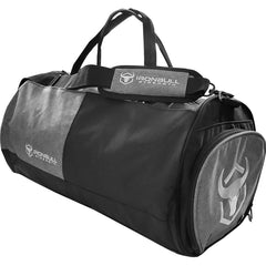 black gym duffel bag side view