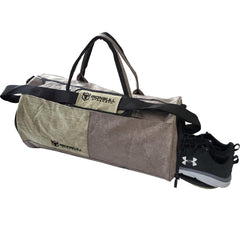 army-green gym duffle bag shoes compartment