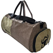 army-green gym duffel bag side view