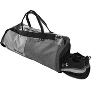 gray gym duffle bag shoes compartment