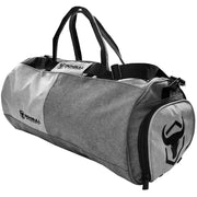 gray gym duffel bag side view