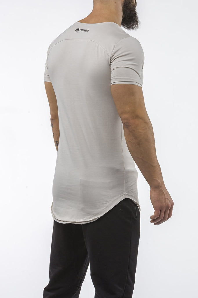 light-gray gym t-shirt scoop neck breathable shirt