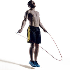 men speed jump rope cardio training