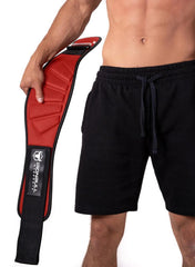 red model putting on back support lifting belt