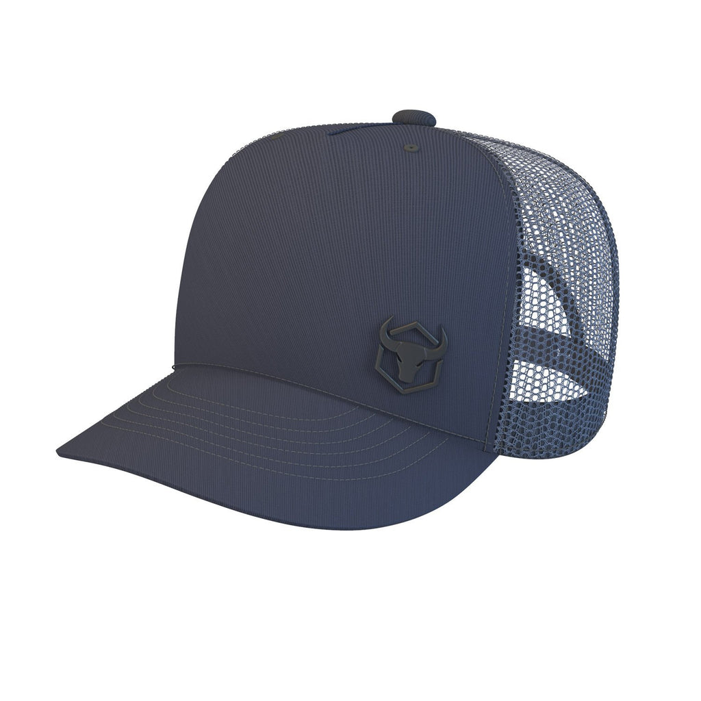 navy-blue trucker cap iron bull strength