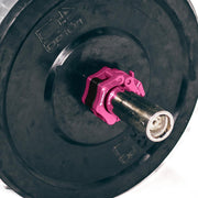 pink iron bull strength clipped barbell collars