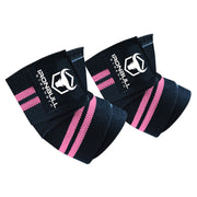 black-pink iron bull strength elbow wraps for bench press