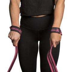 black-pink weight lifting straps for better grip when lifting