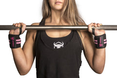 black-pink women wrist wraps for shoulder press protection