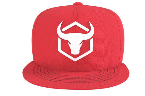 red adjustable snapback iron bull strength