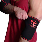 black-red elbow protection sleeves for fitness