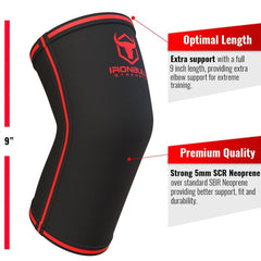 black-red iron bull strength 5mm elbow sleeve features