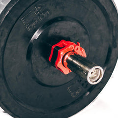 red iron bull strength clipped barbell collars
