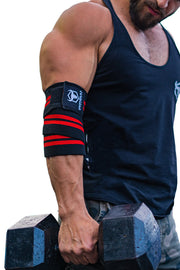black-red green iron bull strength elbow wraps for free weights