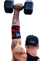 black-red elbow wraps for shoulder press