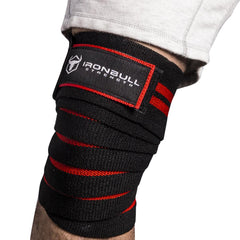 black-red iron bull strength knee support wraps