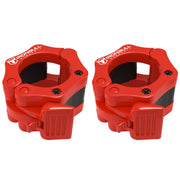 red nylon barbell collars pair