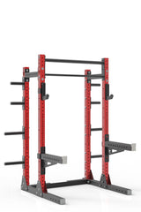 81 red powder coated steel home gym squat rack with dual pull up bar, safety arms, weight plates storage and j-cups from iron bull strength