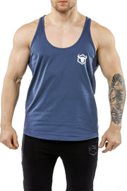 navy-blue workout stringer muscle iron bull strength front