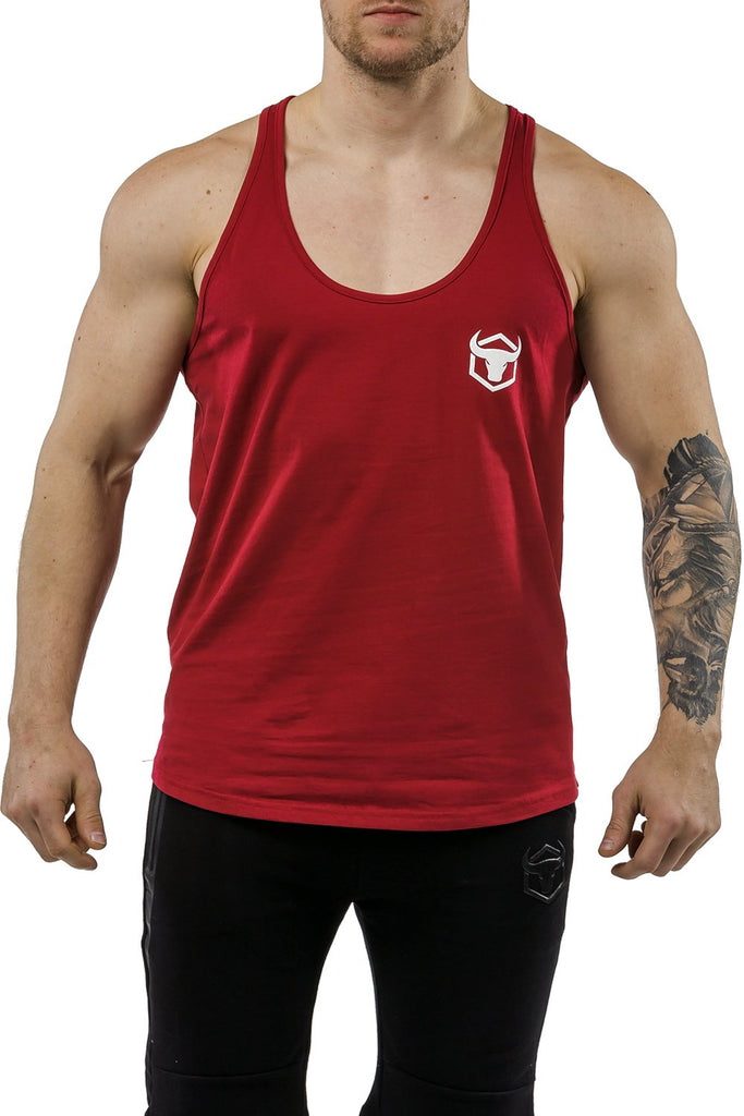 burgundy workout stringer muscle iron bull strength front