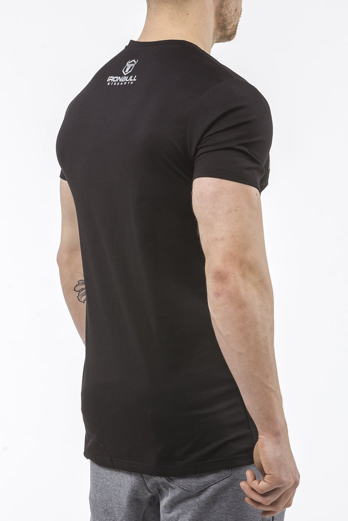 black tapered fit cotton t-shirt iron bull strength